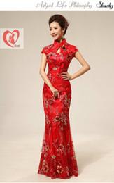 Wholesale Traditional chinese clothing cheongsam red retro fashion lace wedding dress cheongsam women s formal dress