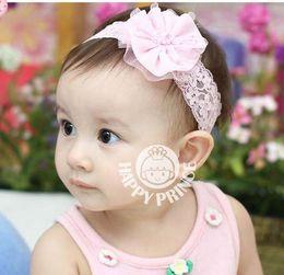 Free shipping Baby Headbands Girl Net Yarn Flower hairbands Children Hair Accessories Pearl Flower Hair Ornaments Headbands 20pcs