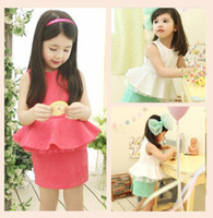 Wholesale Boutique Girl Cotton Princess Sleeveless Dress Child A Line Pageant Dressy Clothing Vintage Kid Gown Ball Clothes White Rose Red D0135