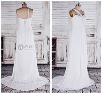 Autumn/Spring Simple Beads Elegant & Simple Real Model One-shoulder Sleeveless Chiffon Wedding Dress JY106