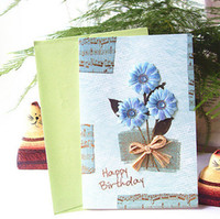 big envelope size - Big size birthday gift card with vintage D flower stickers patterns mixed high quality birthday greeting card with envelope
