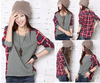 Korean Girl Women Batwing T- shirt Plaid Shirts Blouse ThinTo...