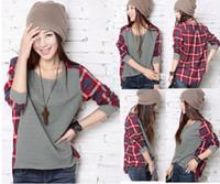 Korean Girl Women Batwing T- shirt Plaid Shirts Blouse ThinTo...