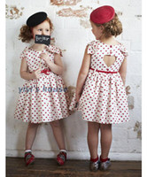 Wholesale Pageant Girl Peach Pattern Dress Vintage Child Short Sleeved Heart Shape Backless Dressy Clothing Kid Gown Ball Bowknot Belt Clothes D0136