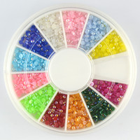 Wholesale 2mm d Nail Art Decorations Acrylic Tips Color Half Pearl Beads Flatback Decoration Manicure Wheel Nail Supplies D206