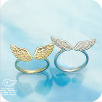 Wholesale Lovers Angel Wings rings Punk Style adjustable alloy rings jewelry golden silver t5027