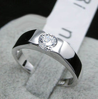 Wholesale Men s wedding ring hearts and arrows mm Swarovski crystal jewelry Laser engraving k gold plated rings fashion