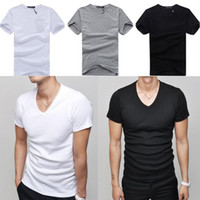 Wholesale Mens V Neck Short Sleeve Casual Slim Fit Ribbed Tee T Shirt Tops Colors HZTS004