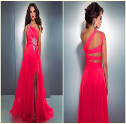 Wholesale Affordable Hot Sexy Appliques Beads Hollow Backless Front Side Slit Chiffon Prom Evening Dresses Gown