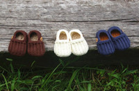 Crochet baby loafers first walker shoes wooden bear button b...