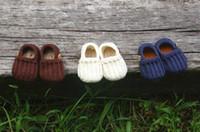 Crochet baby loafers first walker shoes wooden bear button b...