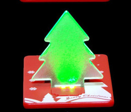 Wholesale Mini LED Christmas Tree Folding Card Night Lights Lamp Pocket Bulb Card customize logo print Creative Gift