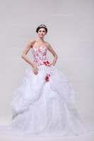 Wholesale 2014 Fall Spring Sweetheart Organza Bridal Gowns Crystals Sequins Beads Handmade Flowers Embroidery Ball Gown Garden Wedding Dresses