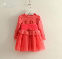 Spring / Autumn Pleated Knee-Length Wholesale - Free Shipping Autumn Baby Girls Long Sleeved Fashion Princess Dress Kids Clothes Long Sleeved Dress Children Clothing Girls Cut