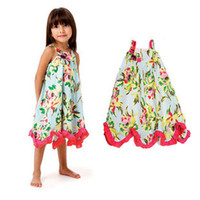 Baby girl kids strap dress cotton dress green leaf rosette f...