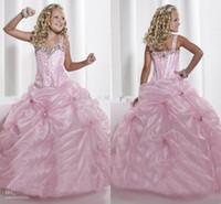 Nueva rosado lindo de la niña del desfile del vestido de bola correas espaguetis colorido Longitud lentejuelas con cuentas Suelo de noche formal de la princesa Vestidos TF 13326