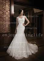 Wholesale 2013 Sexy New Scoop Collar Mermaid Lace Wedding Dresses Beaded Waistband Court Train Bridal Gown JA