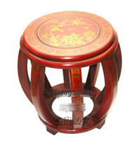 painted furniture - Chinese Hand Wood Flower Painting Hand Drum Stool Chair Furniture