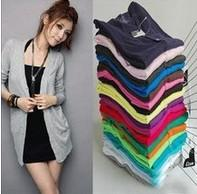 Wholesale New Fashion Women s Cardigan Sweater Long sleeve Casual Slim Cotton Solid Knitwear Colors