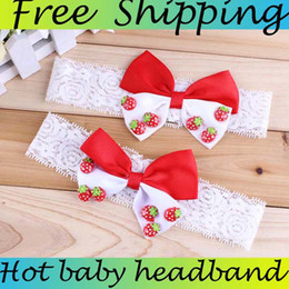 Baby Headbands Flower For Girl Lace hairbands Hair Accessories Lace Hair Ornaments Kids Flower Headbands With Strawberry Above