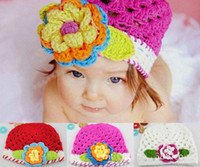 Wholesale Handmade Knitted Baby Flower Hat Spring Crochet Girls Hat Baby Crocheted Beanie caps pc HT01