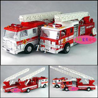 5-7 Years Bus Metal Christmas gift R4 plain fire truck ladder alloy car model toy