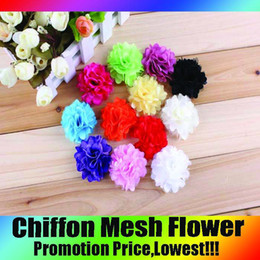Mixed 12Colors Chiffon Flowers For Baby Headbands Girls Flower Headband Hair Accessories Stain Mesh Flower Charlotte tulle puff Flower