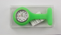 Wholesale 20pcs Hot selling color choices Green silicone nurse watch Fashion chest pocket watch Beautiful candy color table Individually wrapped