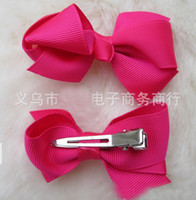 Wholesale 200pcs cm Grosgrain Bows with double prong clips hairpin Bows Baby Hair bow ribbon bows Hairpin