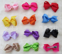 Wholesale 50pcs cm color choices Grosgrain Bows Hairpin with double prong clips hairpin Bows Baby Hair bow ribbon bows Hairpin