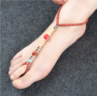 Wholesale barefoot sandals body jewelry sandbeach stretch anklet chain with toe ring cheap glass barefoot sandal pearls chain handmade beachwear