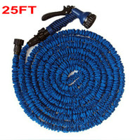 Expandable Flexible Hose And Spray Gun Expandable Flexible Garden Hose Inner Strong Rubber Outside Polyester Free Shipping Wholesale Household Water Garden Hose Expandable Flexible Hose 25FT + 7 Forms Spray Gun