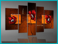 More Panel Oil Painting Abstract Framed 5 Panel High End Large Abstract Wall Art Modern Interior Red Poppy Painting 5 Piece Home Decoration Pictures XD01545