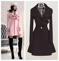 Wholesale 2013 New Women Fashion Coat Long Sleeve falbala ruffle Collar Wool Coat Long Style Ladies New Autumn Ouwear O0023
