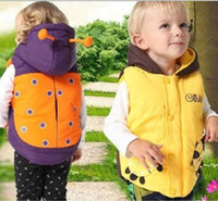Wholesale New Fashion Winter Autumn Spring Cosplay Kids Girl Boy Baby Infant Cartoon The Beatles Warm Orange Red Yellow Hats Vest Hoodie Waistcoats