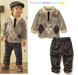 Wholesale Fall Fashion Casual Boys Suit Ling Form Gentleman lapel Topshrt Pants Baby Kids Set Year Children Clothing QZ41