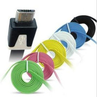 Wholesale Flat Micro Noodle USB Charger Cable m ft micro USB Data Sync Cords for Samsung Galaxy S3 S4 Note HTC Universal Colorful up