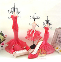 jewelry shoe holder - SET Pink Lace Mannequin Dress Model Highheel Shoe Sofa Ring Earring Necklace Makeup Jewelry Bracelet Holder Stand Organizer Show Box