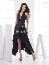 Wholesale new Black Deep V Neck Elastic Woven Satin Chiffon Prom Dress Homecoming