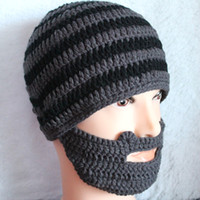 Wholesale 2014 winter funny acrylic beanies handmade black and gery striped skullies caps beard ski hat