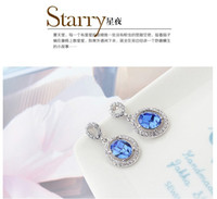 Wholesale 2014 fashion Luxury Swarovski Elements Crystal Stud Crystal Ear dangler blue diamond Earrings Anti allergy L BIOMEDICAL STAINLESS STEEL