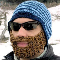 Wholesale fashion funny acrylic handmade blue ski beard knitted cap beard detachable