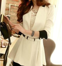 Wholesale 2014 Eurpean Style Women Fashion Blazer New Suits Long Sleeve V neck Slim Ladies Suits Elegant OL Work Clothing New Autumn Outwear O0010