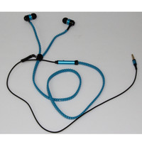 Wholesale Tangle free zipper earphone earbuds headphones w mic microphone playback Blue