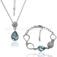 18K white gold diamond earrings and nelace set jewelry whole...