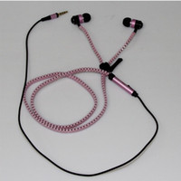 Wholesale Tangle free zipper earphone earbuds headphones w mic microphone playback pink