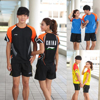 Wholesale Badminton short T shirt and pant suit for men and women gold suit Li Ning fashion badminton sets