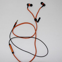 Wholesale Tangle free zipper earphone earbuds headphones w mic microphone playback orange