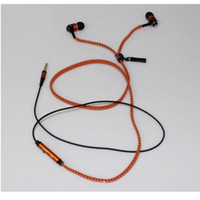 Wholesale red Tangle free super bass zipper earphone earbuds headset headphones w mic microphone playback controls