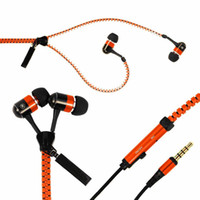 Wholesale Orange Tangle free super bass zipper earphone earbuds headset headphones w mic microphone playback controls